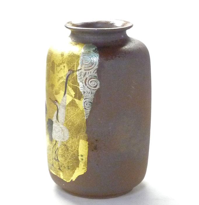 九谷焼通販 おしゃれな花瓶 花器 鶴紋 横からの図