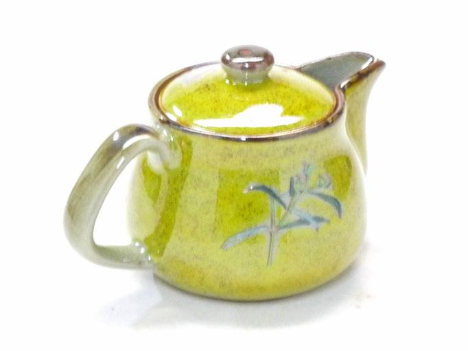 九谷焼【急須 ポット 茶器】小 なでしこ黄塗り『裏絵』