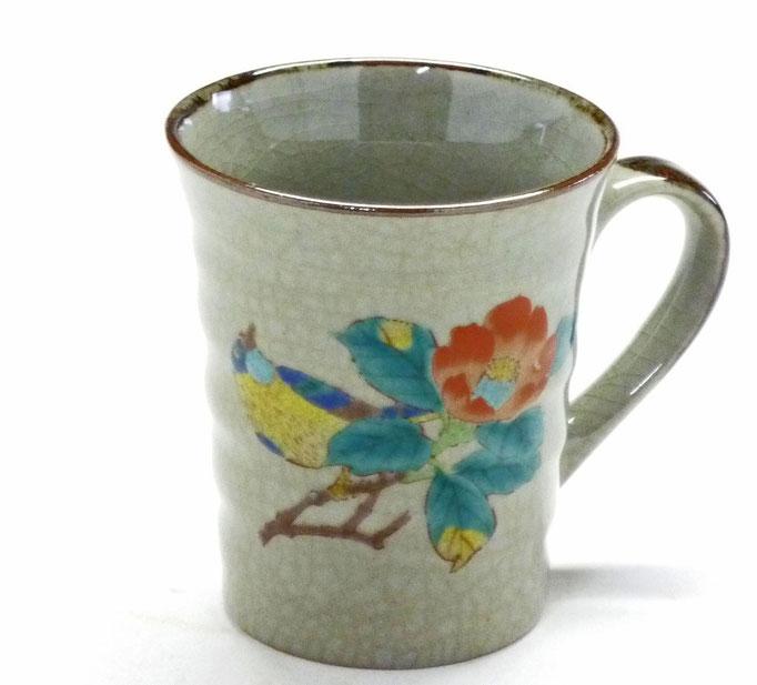九谷焼 マグカップ 椿に鳥 裏絵