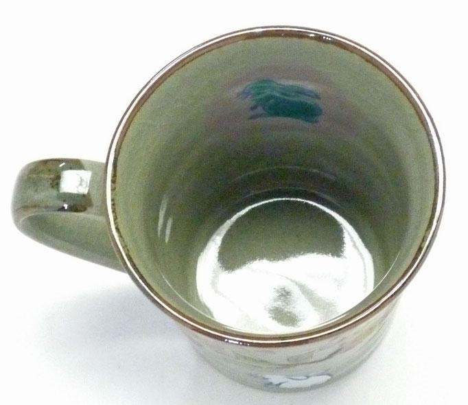 左利き様用 九谷焼 マグカップ 白兎ソメイヨシノ 中裏絵