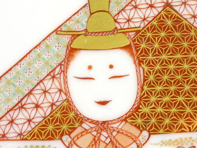 九谷焼 雛人形 お雛様 初節句 飾り皿 赤絵細描 立雛文 正面の図