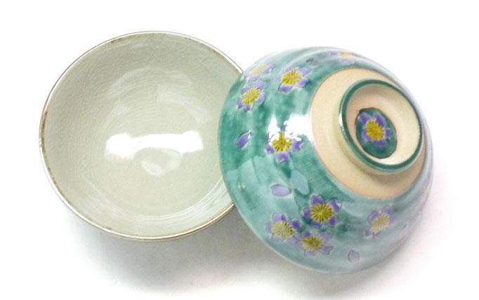 九谷焼通販 おしゃれ 飯碗 ご飯茶碗 ペア飯碗 グリーン地桜 裏絵 中の図