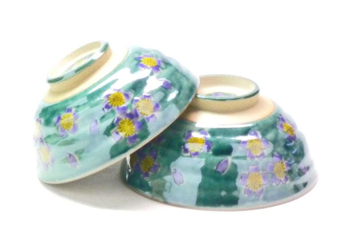 九谷焼通販 おしゃれ 飯碗 ご飯茶碗 ペア飯碗 グリーン地桜 裏絵 正面の図