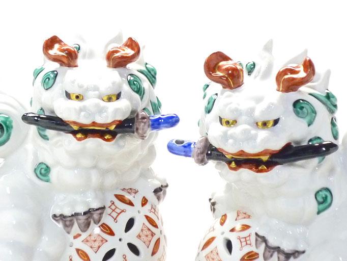 九谷焼【対獅子】本金 赤絵