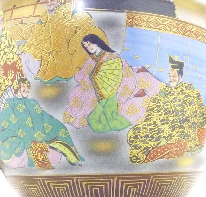 九谷焼通販 おしゃれな花瓶 花器 本金 六歌仙 青粒 拡大の図