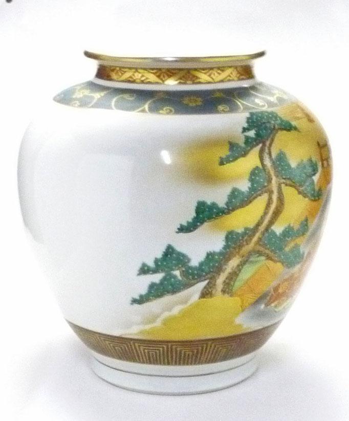 九谷焼通販 おしゃれな花瓶 花器 本金 六歌仙 青粒 横からの図