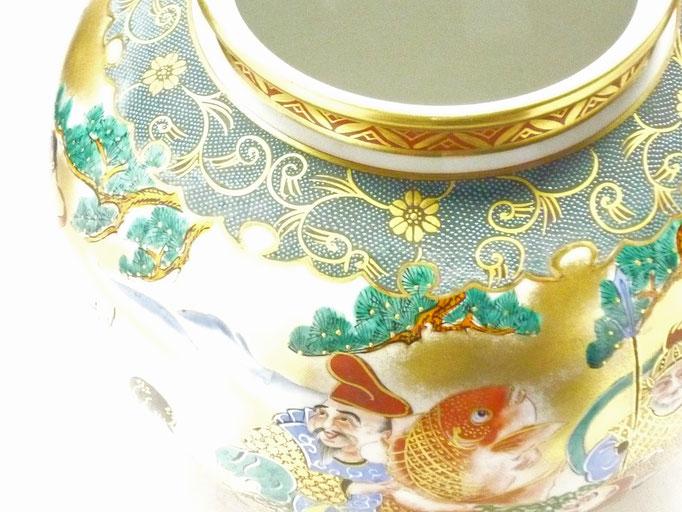 九谷焼通販 おしゃれな花瓶 花器 本金七福神青粒 10号 アップの図