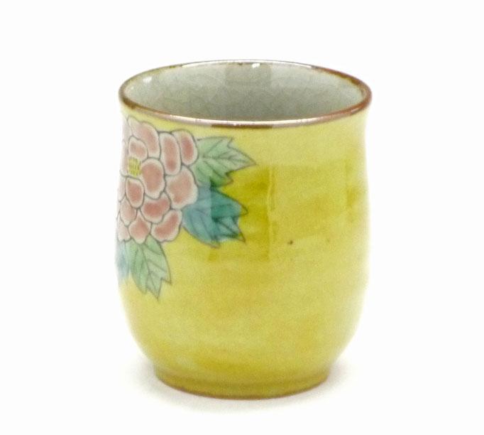 九谷焼通販 おしゃれなお湯呑 湯飲み ゆのみ茶碗 小 吉田屋(濃い塗り)牡丹 裏絵 背中の図