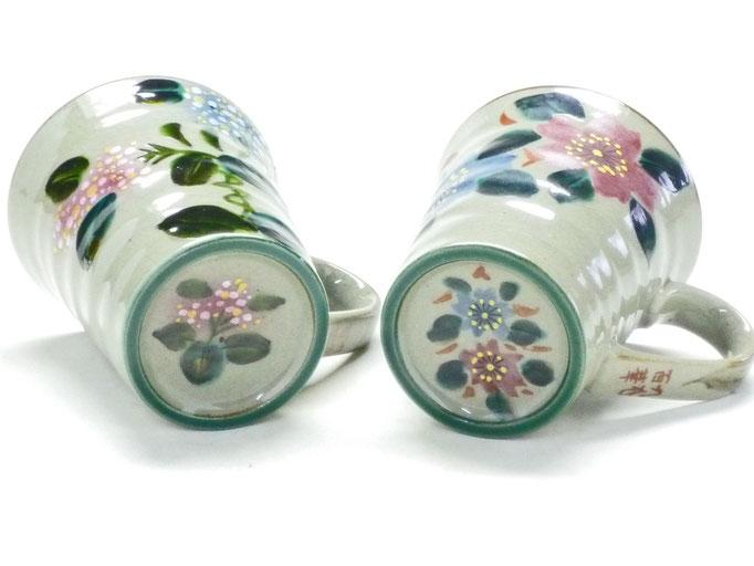 九谷焼【ペアマグカップ】がく紫陽花ピンク+ブルー&和桜 裏絵