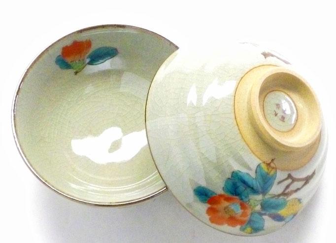 九谷焼『ぺア飯碗』椿に鳥 中絵