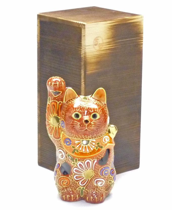 百華園-九谷焼招き猫 デコ盛4号(金運) 焼き塗装木箱台入り