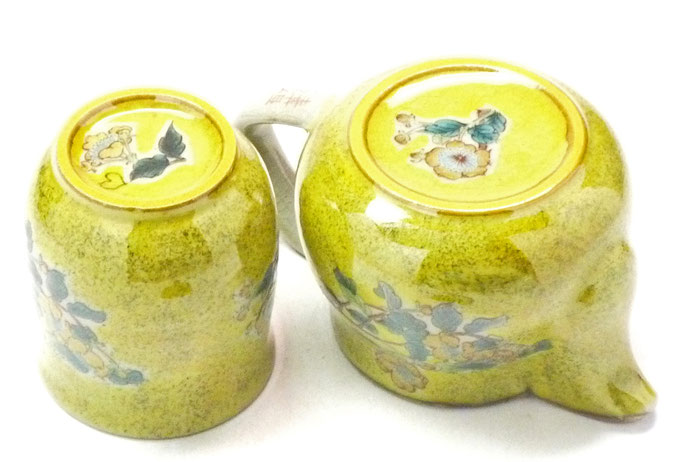 九谷焼通販 茶器 急須 おしゃれ 2点セット 小 黄塗り金糸梅に鳥 裏絵 |九谷焼通販なら百華園