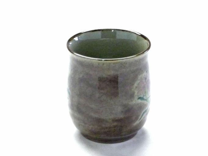 九谷焼【お湯呑】大 なでしこ紫塗り『裏絵』