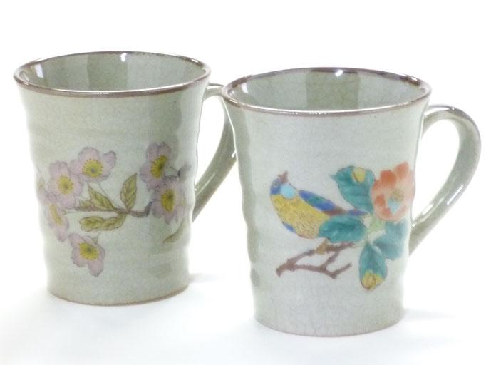 九谷焼『マグカップセット』椿に鳥とソメイヨシノ『裏絵』