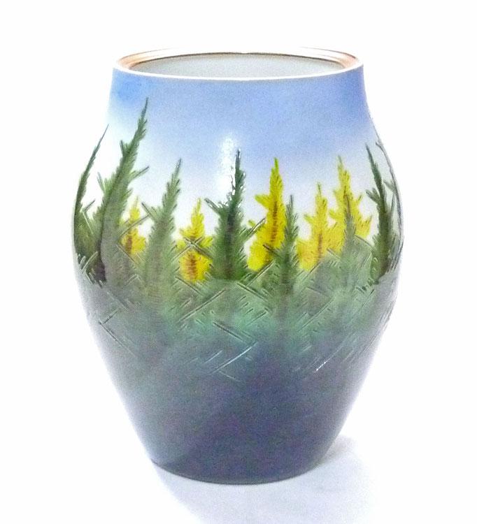 九谷焼通販 おしゃれな花瓶 花器 杉木立 正面の図