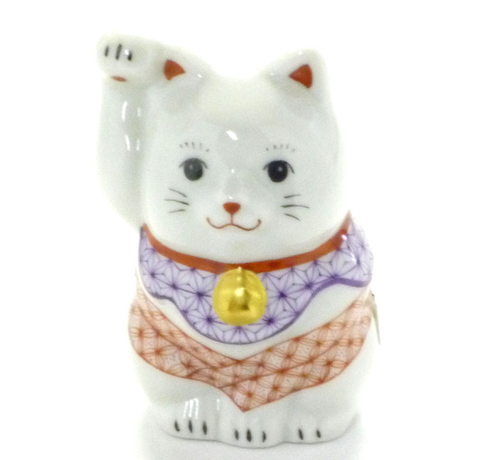 九谷焼通販 おしゃれ  招き猫 縁起物 幸福 インテリア 右手 赤絵細描(金運) チビ猫 正面の図