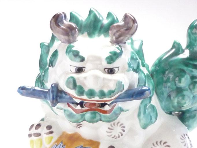 九谷焼 剣白獅子 10号
