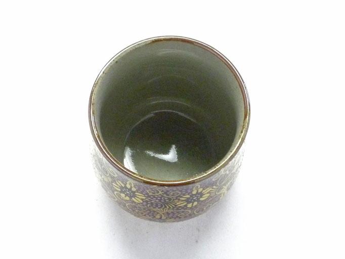 九谷焼通販 おしゃれなお湯呑 湯飲み ゆのみ茶碗 小 手打ちピンク粒 裏絵 上からの図