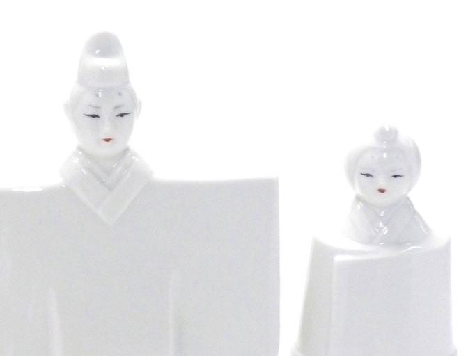 九谷焼 雛人形 お雛様 初節句 ホワイト 立雛 5.5号 裏書 木箱台付 お顔の図