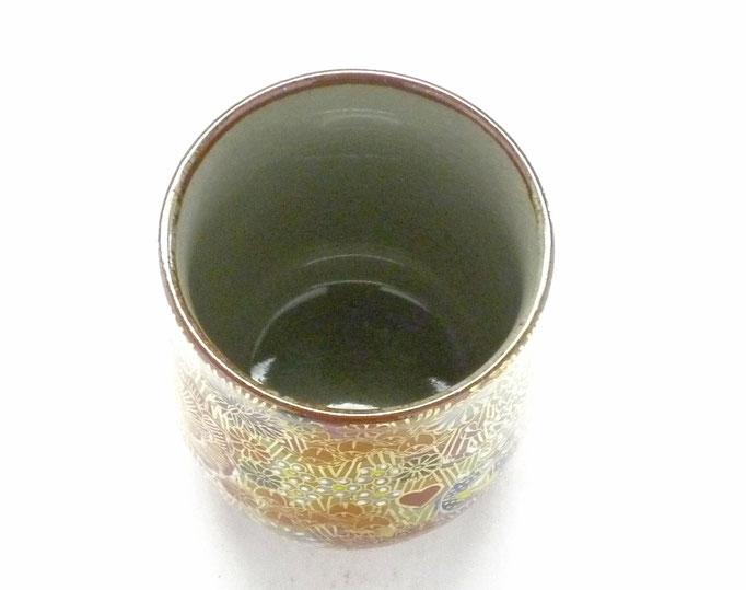 九谷焼『お湯呑』小 加賀のお殿様・お姫様気分(金花詰)【裏絵】