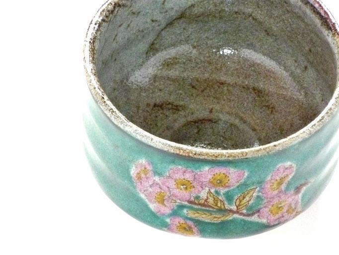 百華園-九谷焼抹茶碗 ソメイヨシノ緑塗り