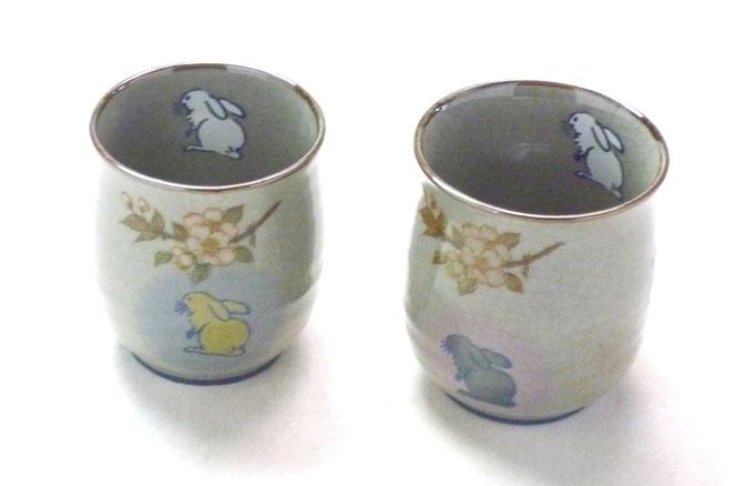 九谷焼通販 おしゃれ 夫婦湯呑 湯飲み ゆのみ茶わん ウサギ さくら 白兎 しだれ桜『中裏絵』(緑)