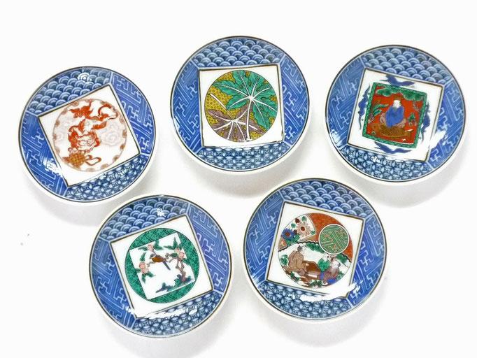 九谷焼通販 おしゃれな小皿 皿揃え 九谷歴代画 絵変り 3.3寸