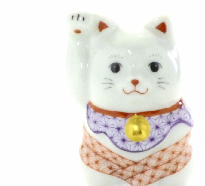 九谷焼通販 おしゃれ 招き猫 ペア インテリア 縁起物 ペアチビ招き猫 赤絵細描 木箱入り 正面の図