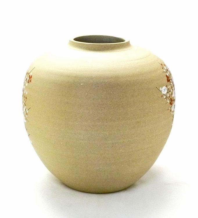 九谷焼通販 おしゃれな花瓶 花器 金箔 牡丹 梅  背中からの図
