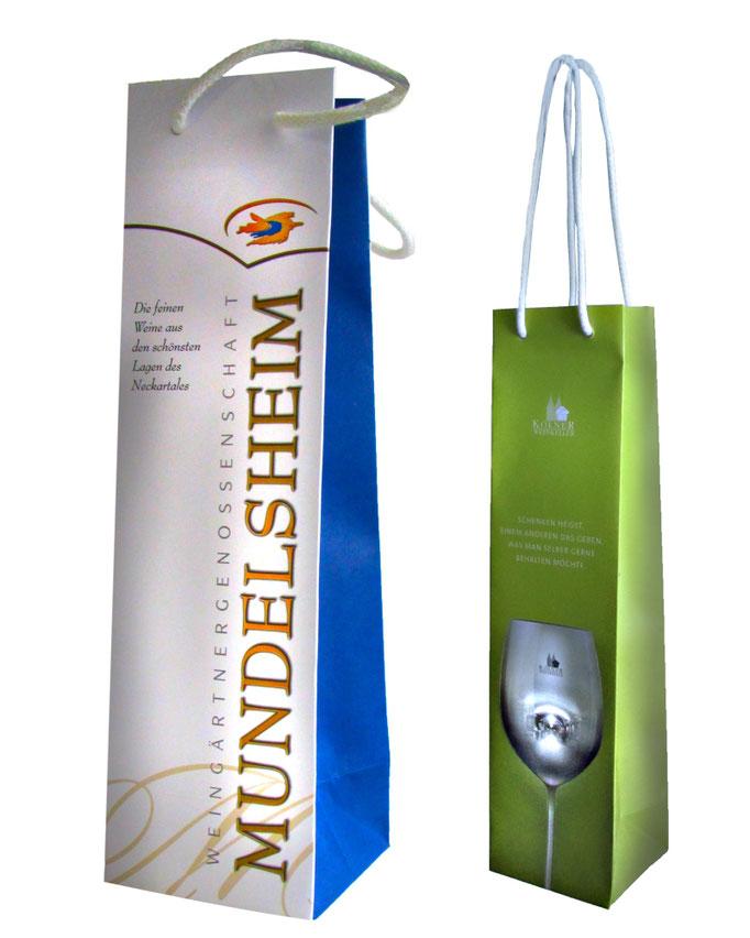 Flaschentaschen aus Naturpapier bedruck 4-C Eurosklala und Flaschentasche mit matter Laminierung