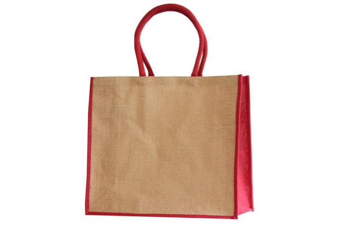 Jute Taschen rot mit roter Boden und Seitenfalte sowie rotem Griff als Kordel