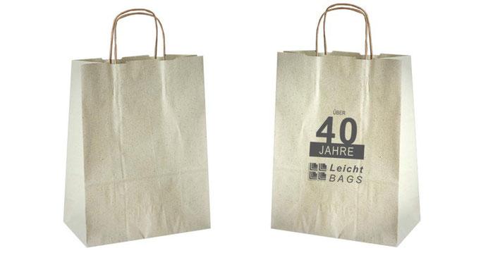 ÖKO Tasche als Gras Taschen aus Graspapier mit Kordel aus Papier