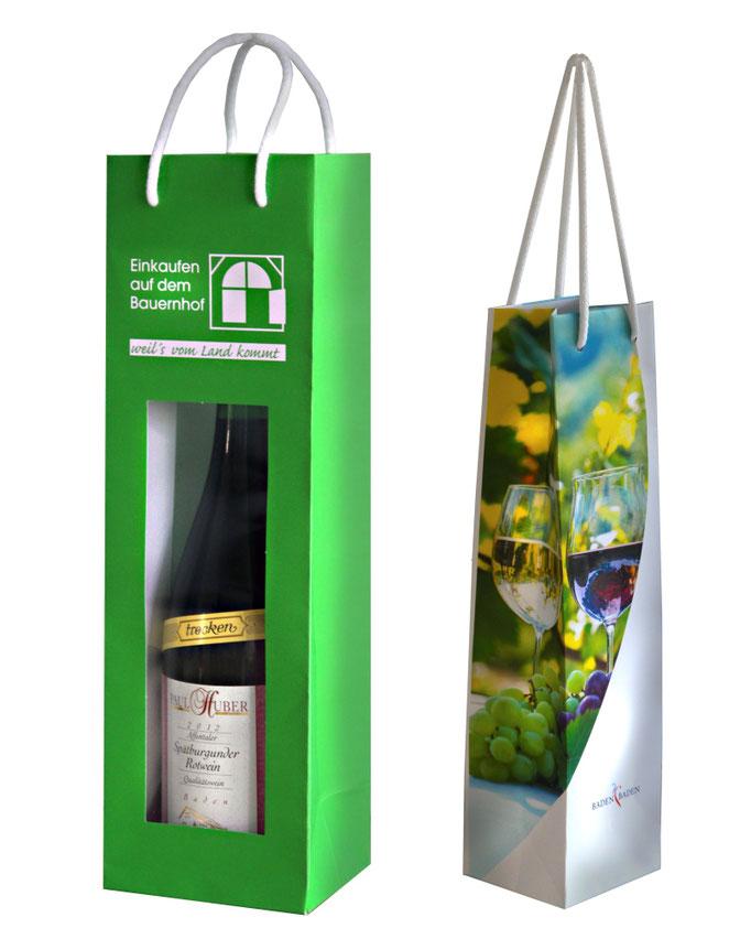 Flaschentaschen aus Papier mit Sichtfenster und Flaschentasche aus Kraftpapier 170 g/qm 4 farbig bedruckt