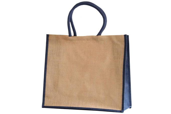 Taschen stabil aus Jute natur Jutetasche blau