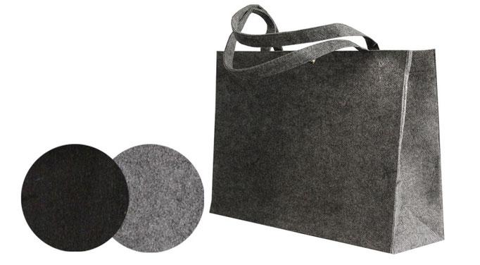 Taschen aus Filz in den Farben hellgrau grau und schwarz mit Druckknopf und langen Griffen