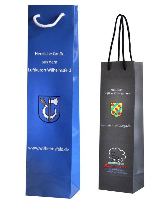 Flaschentaschen für Kumunen mit Druck im Kundendesign