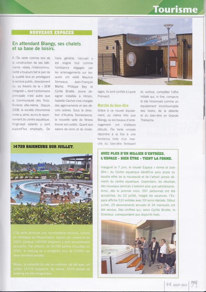 article dans le magazine de la ville d'Hirson pour l'inauguration du Centre de Bien-être de l'Ile Verte