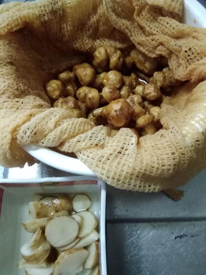 キクイモの味噌粕漬け&キクイモの甘酢づけ