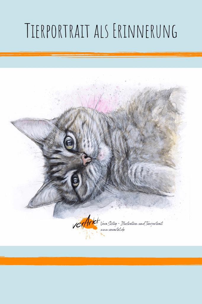 Tier malen lassen, Katze , Auftragsbild