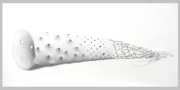 Open End, 2015. Bleistift auf Papier, 74 x 150 cm.