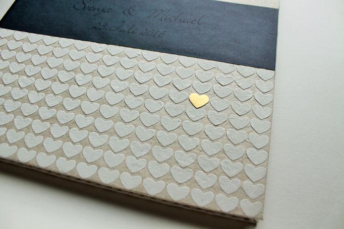 Gästebuch mit Namen Hochzeit, Hochzeitsgästebuch, schlichtes Gästebuch individuell, Gästebuch mit Herz Herzchen gold