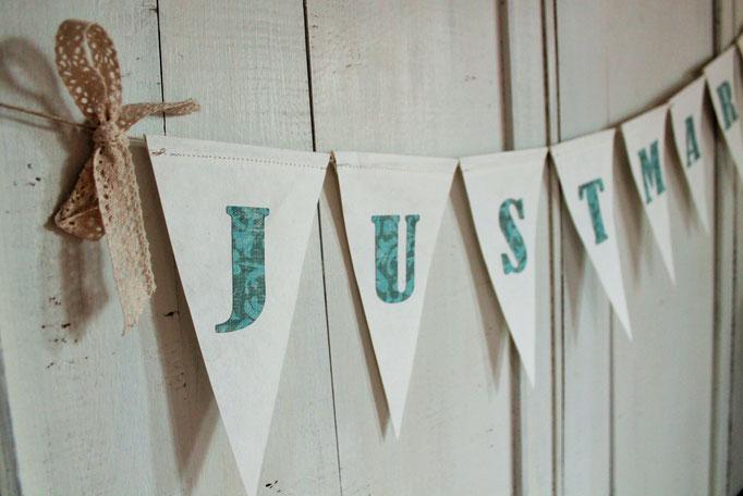 Wimpelkette Just Married, Girlande Hochzeit, vintage look, Papierwimpel Hochzeit,