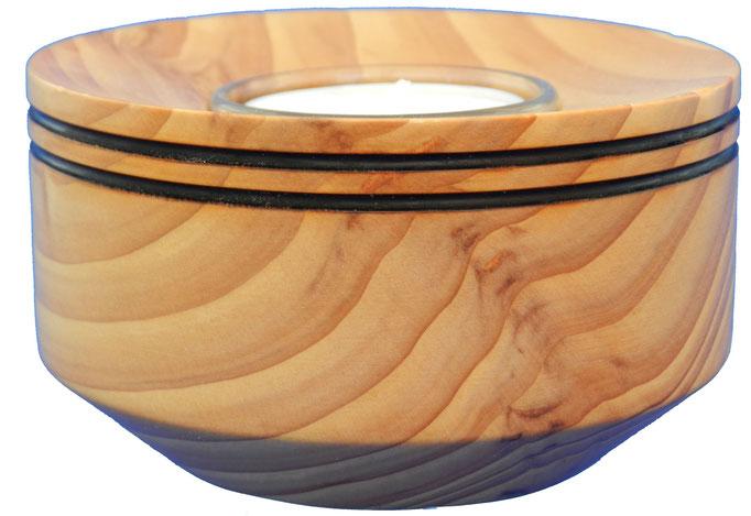 Teelicht 1: mit Glaseinsatz  H: 55mm, Ø: 100mm