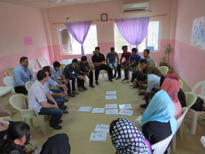 Test de la boite à images avec un groupe d'adolescents, Darbanhikhan, Irak