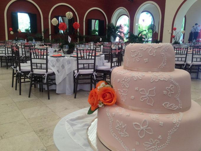 Rosa Pastel de fontant para boda en cuernavaca morelos