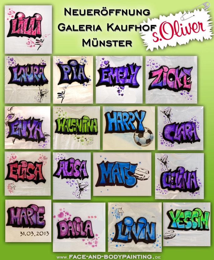 Airbrush-T-Shirts Neueröffnung Galeria Kaufhof Münster (s.Oliver)