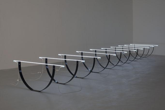 I 01-2015, Eisen lackiert, Neonsysteme, je 70x110x10cm, Maße variabel