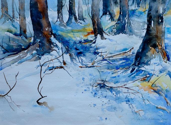 Winterwald (Aquarell, 42 cm x 30 cm)