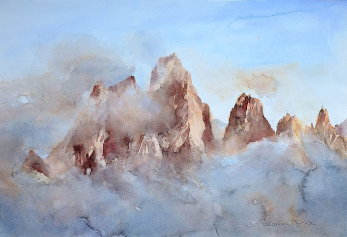 Geisler im Nebel (Aquarell, 45 cm x 30 cm)