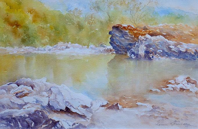 Am Eisack (Aquarell, 45 cm x 30 cm)